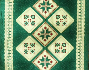 Printed Cotton Quilt Fabric, Small Cheater Quilt Top, Pre-Printed Southwest Fabric Panel, Green Red Ecru, 44 x 36 in, Vintage OOP Wall Quilt