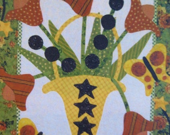 Quilt Pattern, Katie's Tulips, Pat Sloan Design, Applique Throw, Flowers and Butterflies, Wall Quilt Throw Pattern