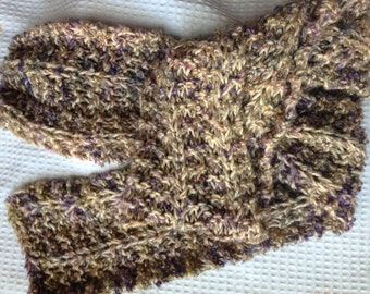 Handknit Scarf, Wool Blend, Tan and Purple.  Long Warm Winter Scarf, Great Gift!