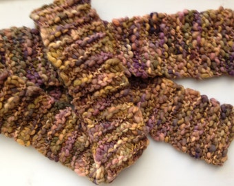 Tan, Brown and Mauve Handknit Chunky Wool Scarf