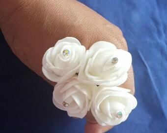 4 Beautiful White Rose Hair Pin.