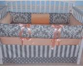 Crib Bedding  3 PC Gray Damask peach minky