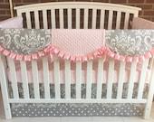 Crib bedding set. 3 PC: skirt, sheet, rail cover . Gray damask/ pink ruffle