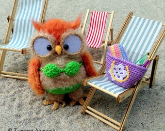 Beach owl, crocheted OOAK