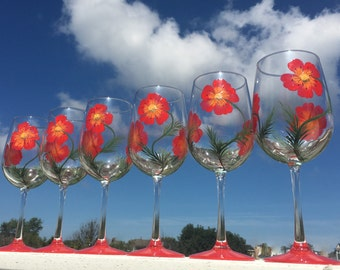 Pretty Red Poppies hand painted wine glasses