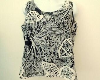 Vintage 1980s Botanical Leaves Black & White Splatter ALLEY CAT  I I Top Tank Sleeveless Shirt XL 38 / 80's Clothing