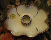 """Vintage """"Frankoma"""" single Candle Holder - ceream colored four petal flower with brown edges, brown ridged center, """"Original Creation"""""""