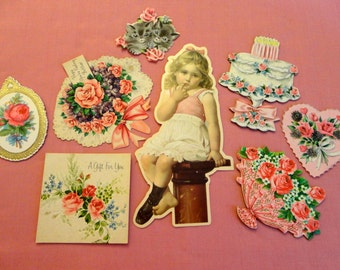 Supply for Scrapbooking - lot of eight Vintage greeting Card embelishments, Little girl on pedistal, all others have pretty pink rose theme