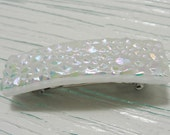 """Small (2.25"""") Dichroic Fused Glass Barrette Hair Barrette Decorative White Hair Clip Accessories Women Girls Gifts Under 20 Dollars"""