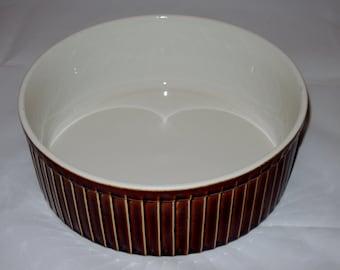 Vintage Brown Stoneware, Ceramic Casserole Dish, Brown Souffle 70's Baking Dish