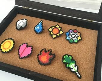 8-bit Pokemon Kanto Badge Pins Set