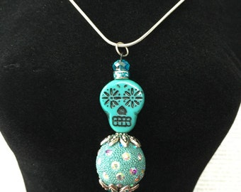 Sugar Skull Stacking Pendant - Limited Edition - Made With Czech Crystals In Teal and Black, Blue Crystals, Kashmiri Beads and Rhinestones