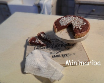 Miniature cake with chocolate and hazelnuts 1/12 scale
