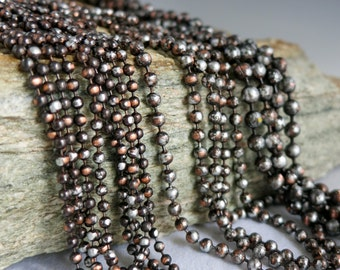 """3.2mm COPPER Ball Chain, Ancient Relic PATINA , Hand Applied Patina, by the Inch, 6"""" to 36"""""""