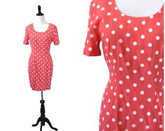 Vintage 1980's Dress l Bubblegum Pink Polka Dot Dress l Size S l Vintage Dress