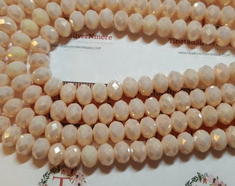 1 strand of 16 inches of 8x6mm Faceted Rondelle Light Salmon Peach color Chinese Crystal