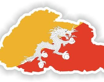 Bhutan Map Flag Silhouette Sticker for Laptop Book Fridge Guitar Motorcycle Helmet ToolBox Door PC Boat
