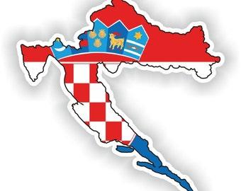 Croatia Map Flag Silhouette Sticker for Laptop Book Fridge Guitar Motorcycle Helmet ToolBox Door PC Boat