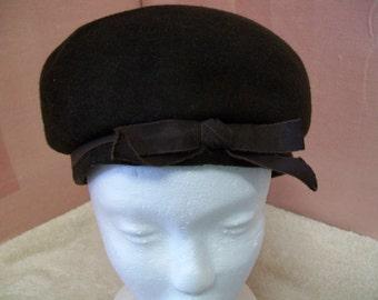 Vintage Ladies Felted Wool Hat by Ritz Henry Pollak New York Dark Brown