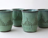 Stoneware Tumbler Drinking Cup - Aqua Mist - Handmade Modern Dinnerware - MADE TO ORDER