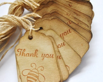 70 Thank You Queen Bee Coffee stained vintage inspired favor gift tags. wishing tree card. primitive. rustic. wedding. scrapbooking