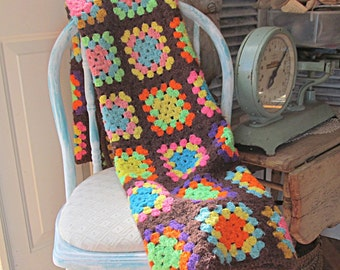 Vintage Granny Square Afghan Lap Blanket Cottage Chic Brown Colorful Small Old Fashioned Bedding Throw Back Mid Century Home Decor