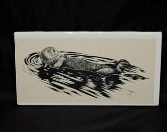 Alaska Sea Otter Art Print Floating Swimming on his Back Carol Fuld 1992