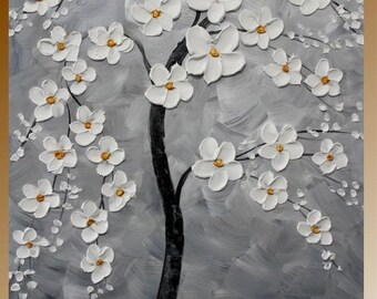 "SALE Original abstract Oil Tree Of Life gallery canvas 36"" signature palette knife floral impasto painting by Nicolette Vaughan Horner"