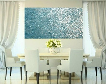 "XLarge Aqua Pearl Oil Landscape Abstract Original 48"" palette knife oil  impasto oil painting by Nicolette Vaughan Horner"