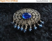 NOW ON SALE Vintage Blue Brooch Pin Retro Collectible Costume Jewelry 60s