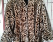 NOW ON SALE Stunning Leopard Cheetah Faux Fur Coat * By Monterey 1980's Plus Size 2X 3X * Retro Rockabilly Jacket * Old Hollywood Glamour *