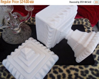 Now On Sale Vintage Milk Glass Heavy Ornate Dish Hollywood Regency Mad Men Mod Mid Century Modern Home Decor 1950's Collectible
