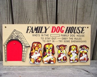 Vintage In the Dog House Kitschy Wall plaque - Family Dog House - American Retro - Gift - No Shenanigans Doghouse
