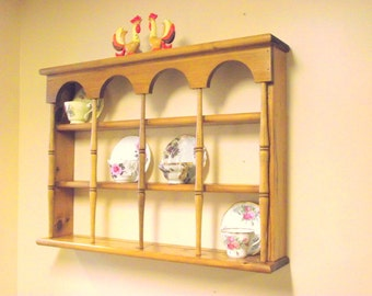Wood 3 Tier Display Teacup Tea Cup & Saucer Curio Wall Shelf with Columns - Holds 12 Cups / Saucers Plate Display