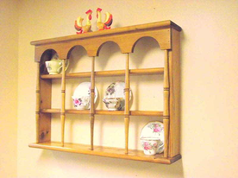 Wood 3 Tier Display Teacup Tea Cup Amp Saucer Curio Wall Shelf