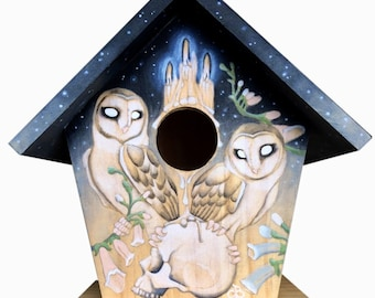 From Within Us birdhouse birds owls barnowl baby parents family painting wooden