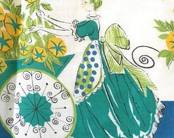 Vintage Kitchen Apron - Half Apron - Cotton Apron - Blue Green Womens Apron Ladies