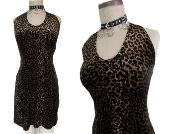 Leopard Print Halter Bodycon Stretchy Tight Fuzzy 90's dress