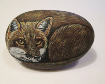 Red Fox hand painted on a stone - pet rock - by Ann Kelly