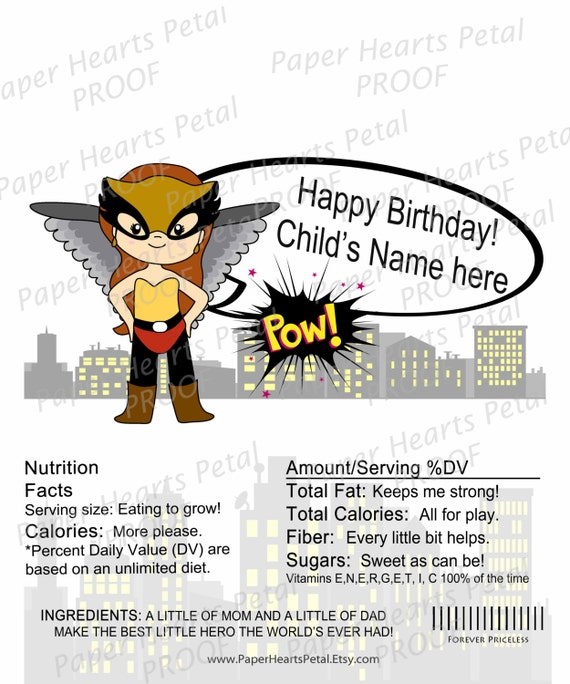 Personalized Hawkwoman - Girl Super Hero - Shower/Birthday Candy Bar Wrapper,  Pack of 25 printed wrappers with foil