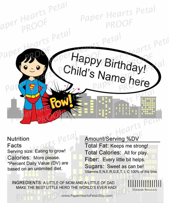 Personalized Super Girl - Girl Super Hero - Shower/Birthday Candy Bar Wrapper,  Pack of 25 printed wrappers with foil