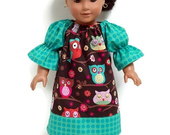 18 inch Doll Clothes Peasant Dress Brown Owls Teal Polka Dot 15 inch Doll Clothes