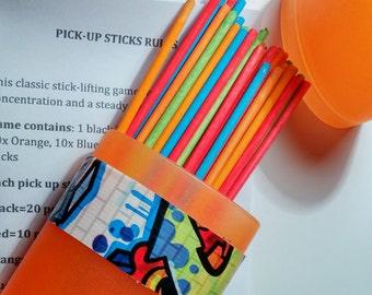 pick up stick game homemade kids indoor outdoor toy orange