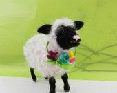 Needle felted lamb, curly sheep, Black face shy sheep, white and black curly sheep, mohair curls, holiday decor, baby lamb Christmas gift