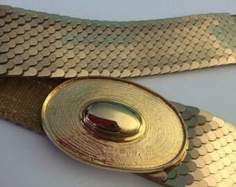 Vintage GOLD Metal Stretchy BELT