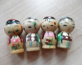 Japanese Kokeshi Miniature Wood Dolls Handpainted Vintage Japan Boy Girl Diorama Altered Art Mixed Media Terrarium Craft Supply Supplies