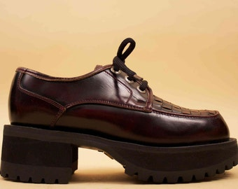 90s Vtg Oxblood Genuine LEATHER Lace Up Chunky Platform CREEPERS / Deadstock Punk Mod Brogue Oxford Grunge Goth MURO Welt  6 Eu 36