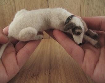 Miniature Dog, white dog, Mongrel, Needle felt dog, Dog Sculpture .