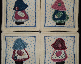 Primitive Whimsical SUNBONNET SUE DOLLS Coasters Mug Mats Hot Pads Trivets