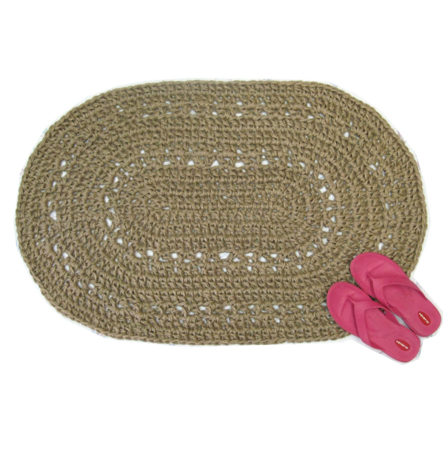 Oval Jute Area Rug Crocheted From Natural Fibers Kitchen Or